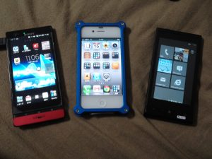 Android(Xperia P), iPhone 4S, Windows phone(IS12T)が大集合!