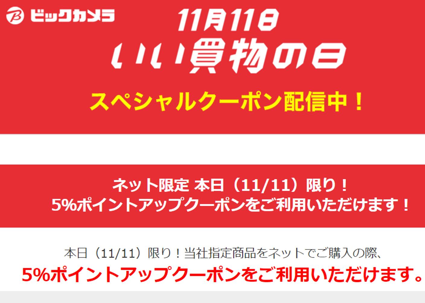 ビックカメラ、Webで「いい買物の日」11/11限定5%ポイントアップセールを実施!
